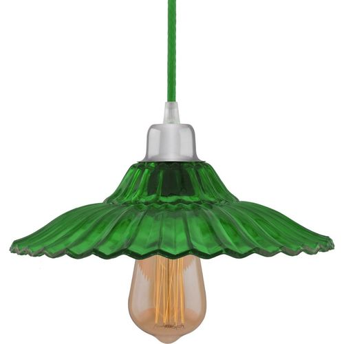 Homesake Industrial vintage E27 Colored Glass pendant Lampshade, Filament/LED hanging ceiling light, Green Pendants Ceiling Lamp