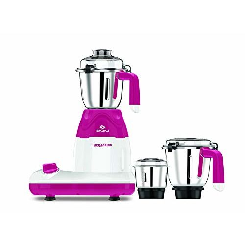 Bajaj Hexagrind 600-Watt Mixer Grinder with 3 Jars (White/Red)