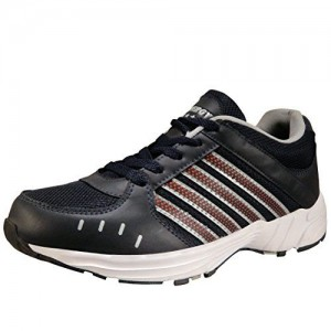 6f5b3289a23cf2 Action Shoes Men's Navy Blue, Silver and Maroon Mesh/PU Sports Running  Shoes -