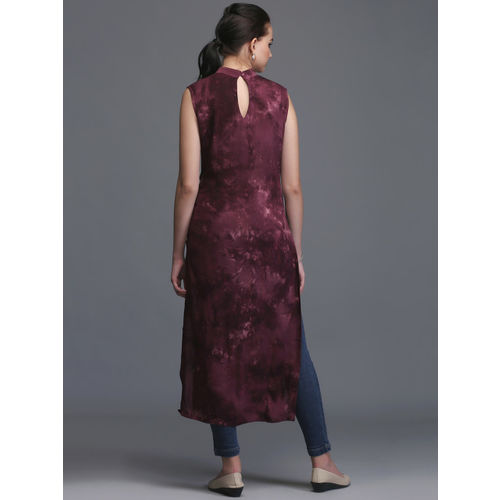 Ojjasvi Burgundy Rayon Dyed Straight Kurta