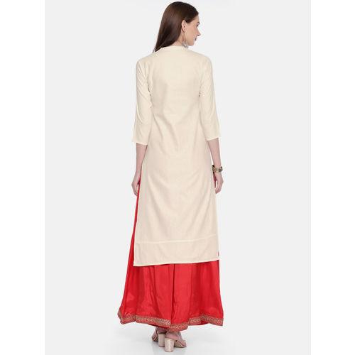 Span Women Off-White Printed Straight Kurta