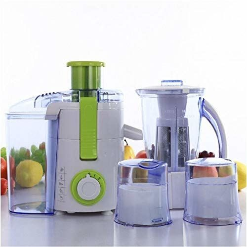 BMS Lifestyle 500FPN4 Raw Juice Machine ABS Plastic 5 in 1 Food Processor with 3 Jar and Includes Fruit Filter Attachment/Pulp Juice Extractor (Green)