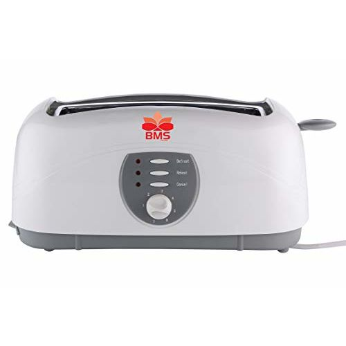 BMS Lifestyle Long Slot 4-Slice Toaster with High Lift Lever 1400 Pop Up Toaster (White)