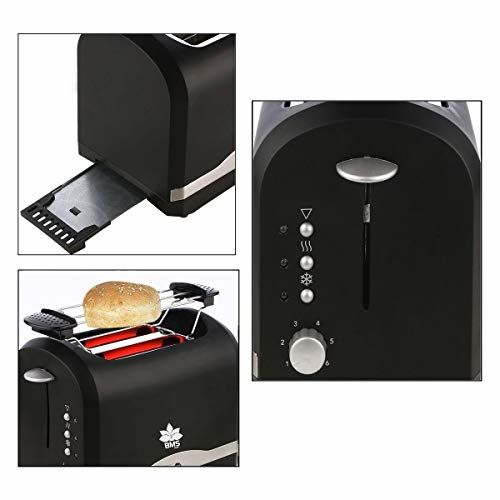 BMS Lifestyle Switch ON Cool Touch Toasters with 2 Extra Wide Slots 6 Browning Dials and Removable Crumb Tray Warming Rack for Breakfast Bread Muffins Ovens Toasters