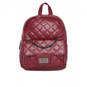 Roadster Burgundy Polyurethane Solid Backpack