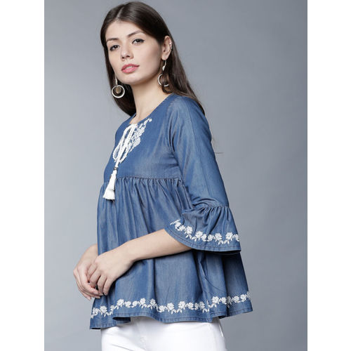 Tokyo Talkies Women Blue Embroidered Empire Top