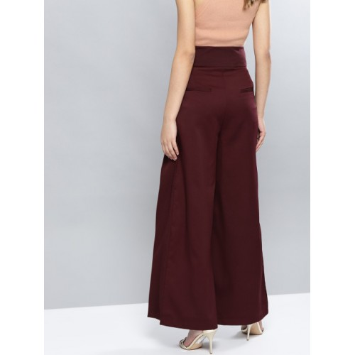 Harpa Maroon Polyester Regular Fit Solid Trousers