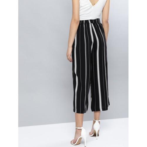 Harpa Black & White Rayon Regular Fit Striped Culottes