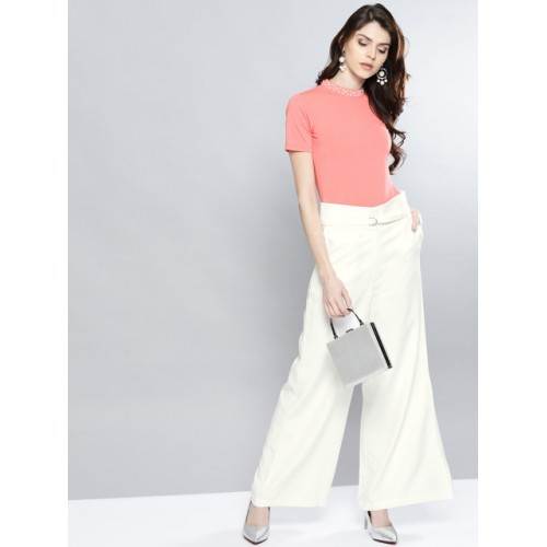 Harpa White Polyester Solid Parallel Trousers