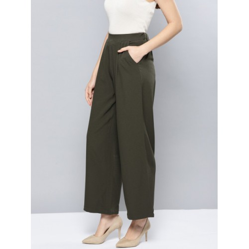 Harpa Olive Green Polyester Regular Fit Solid Parallel Trousers
