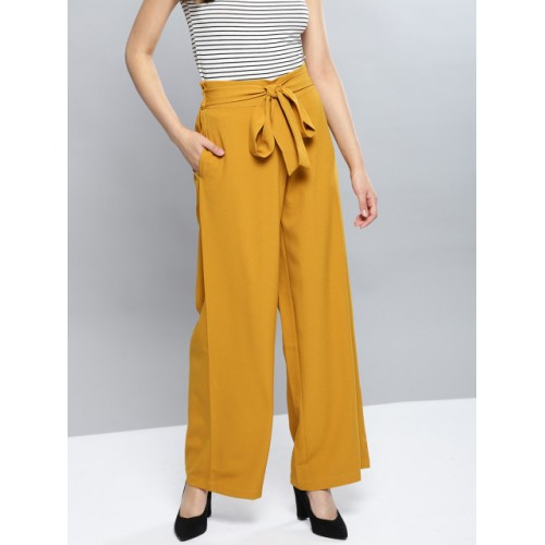 Harpa Mustard Yellow Polyester Regular Fit Solid Parallel Trousers