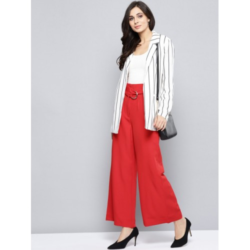 Harpa Red Polyester Regular Fit Solid Parallel Trousers