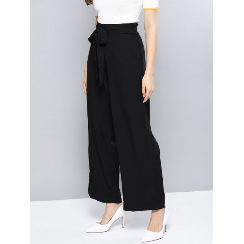 Harpa Black Polyester Regular Fit Solid Parallel Trousers