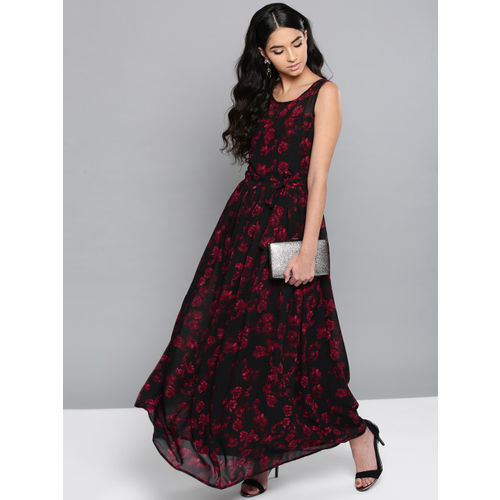 Harpa Black & Maroon Printed Maxi Dress