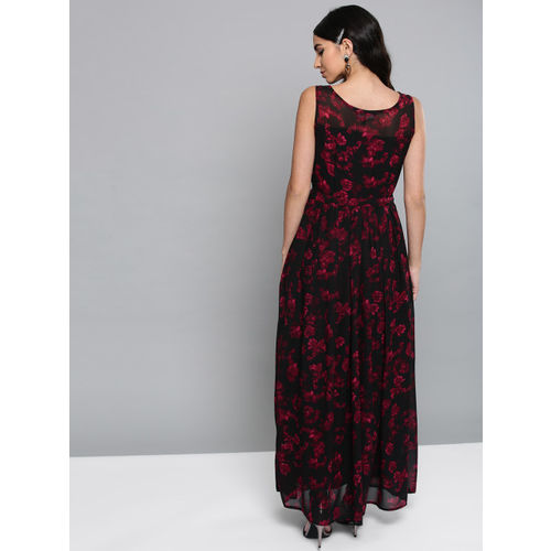 Harpa Black & Maroon Printed Maxi Dress