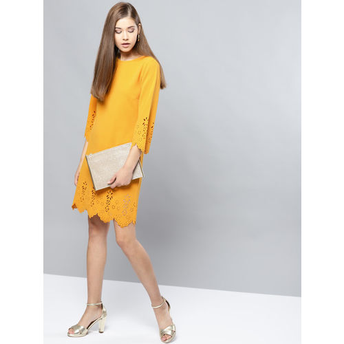 Harpa Women Mustard Yellow Solid A-Line Dress