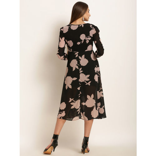 Harpa Women Black Floral Print Fit and Flare Dress