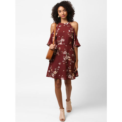 Harpa Women Maroon Printed Fit and Flare Dress