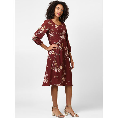 Harpa Women Maroon Printed A-Line Dress