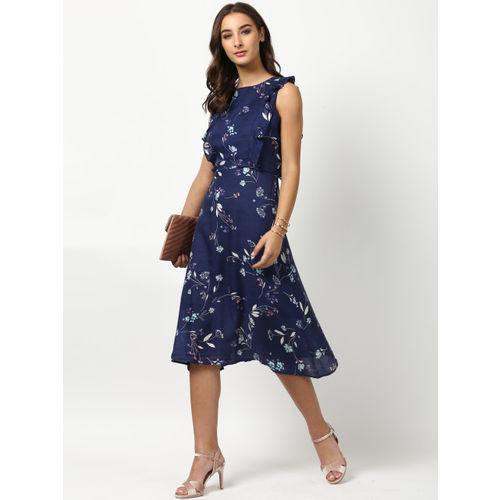 Harpa Women Navy Blue Printed A-Line Dress