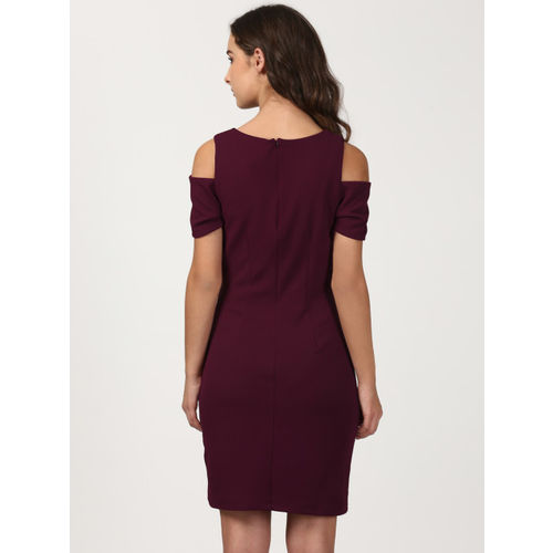 Harpa Women Maroon Solid Bodycon Dress