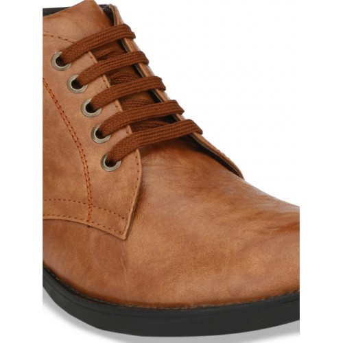 Mactree Men Tan Brown Solid Mid-Top Flat Boots