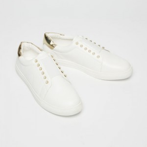 14f77b70ad73 GINGER White Pearl Embellished Lace-Up Shoes