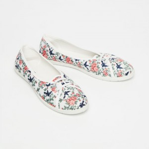 Ginger by Lifestyle White Synthetic Printed Slip-On Sneakers