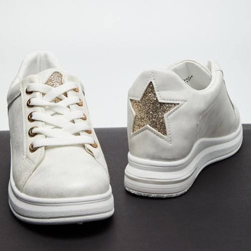 Ginger by lifestyle White Mid-Top Lace-Up Casual Shoes with Embellished Applique