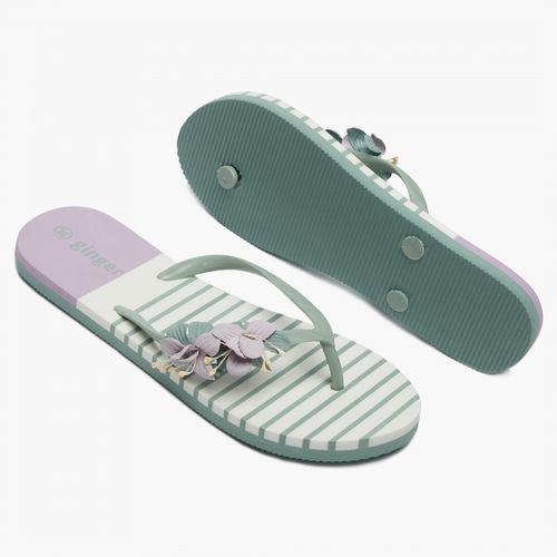GINGER Floral Applique Striped Slippers