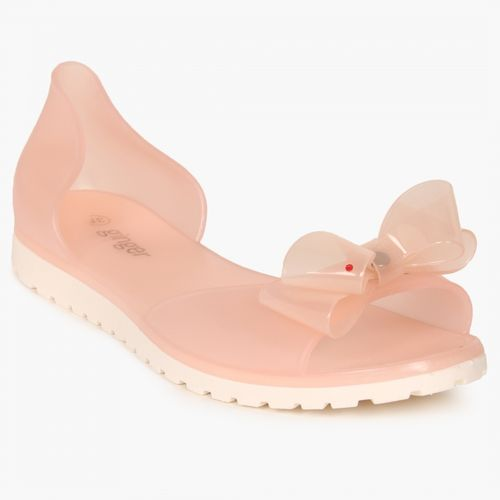GINGER Bow Detail Translucent Cleated Sole Flats