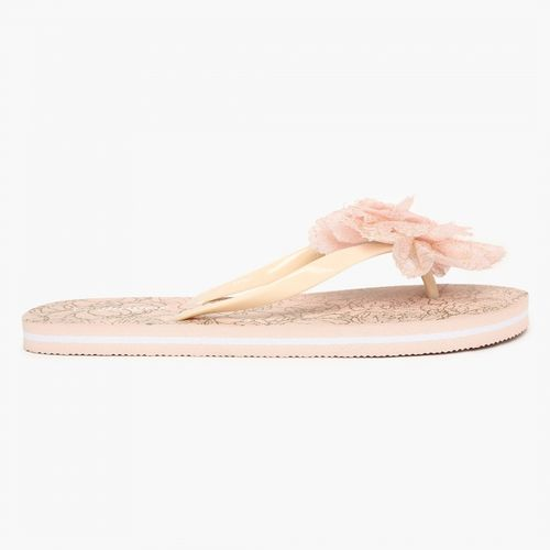 Ginger by Lifestyle Beige Rubber Slip-on Flat Flip Flops