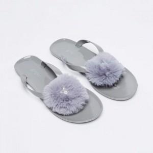 GINGER Gray Pearl-Embellished Fur Flip-Flops