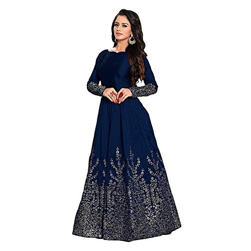 Omkar Fab Navy Blue Twill Tafeta Silk Anarkali Style Gown