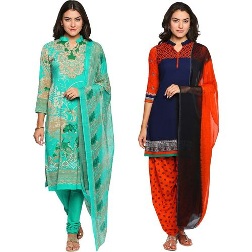 Ishin Synthetic Printed Salwar Suit Dupatta Material(Unstitched)