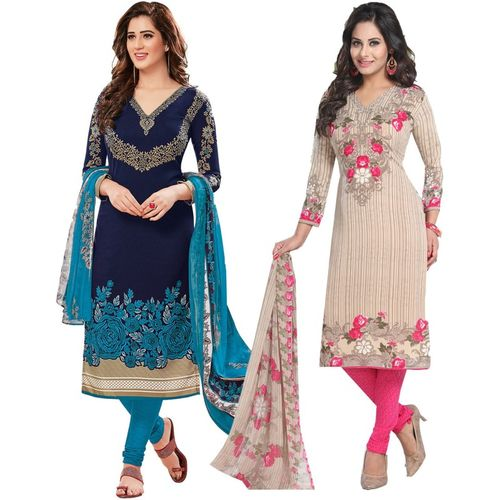 Ishin Synthetic Multi Color cotton Polyester Printed Salwar SUit