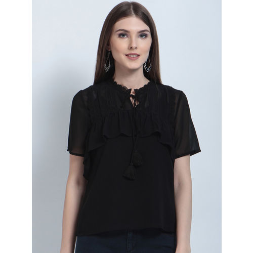 RARE Women Black Solid Top with Lace Detail