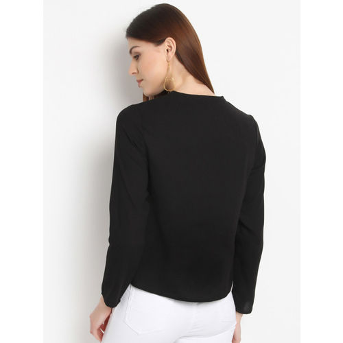 RARE Women Black Embroidered Top