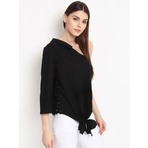 RARE Women Black Solid One Shoulder Top