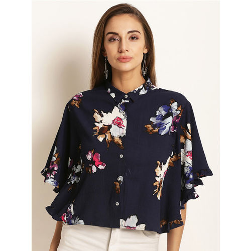 RARE Women Navy Blue Printed Top