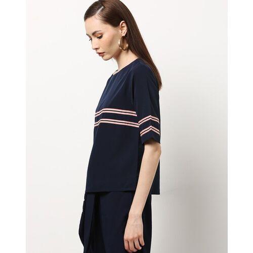 RARE Women Navy Blue Striped Top