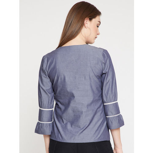 RARE Women Blue Solid Chambray Top