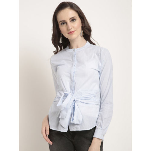 RARE Women Blue Striped Shirt Style Top
