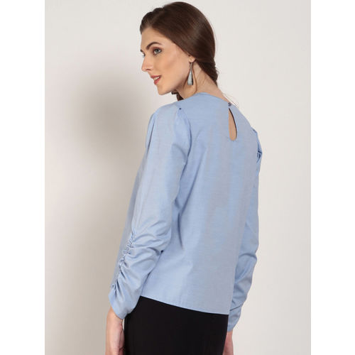 RARE Women Blue Solid Top