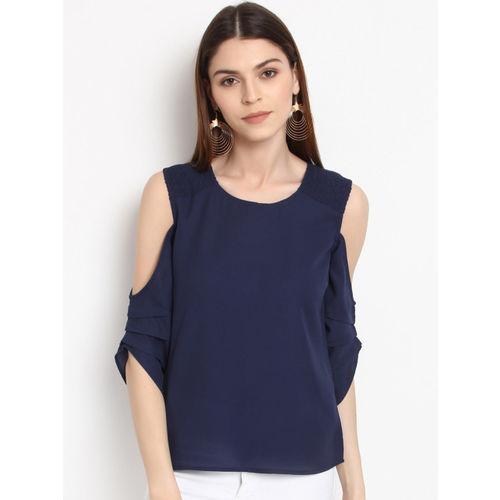 RARE Women Blue Solid Cold Shoulder Top