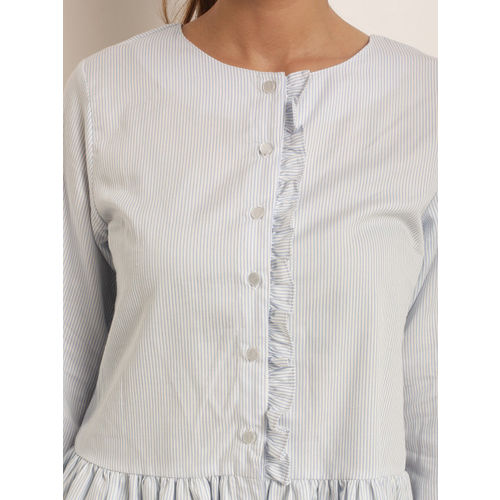RARE Women White Striped Peplum Top