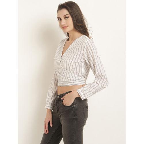 RARE Women White Striped Wrap Top