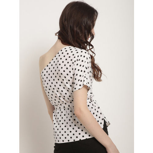 RARE Women White Printed Cinched Waist Top