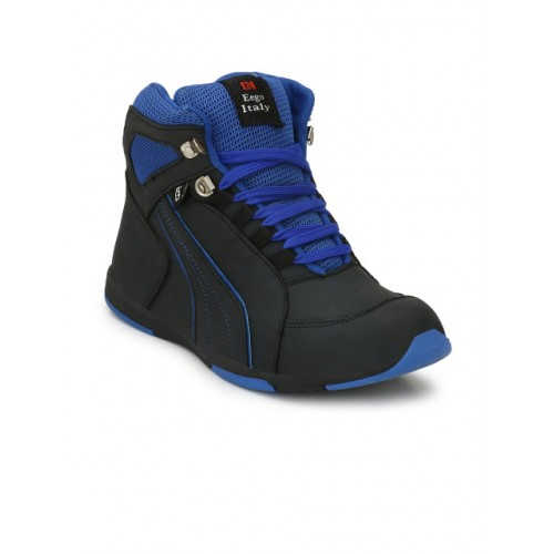 Eego Italy Men Blue& Black Leather High-Top Trekking Shoes