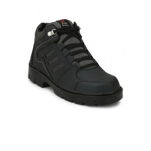 Eego Italy Men Black Leather Mid-Top Trekking Shoes